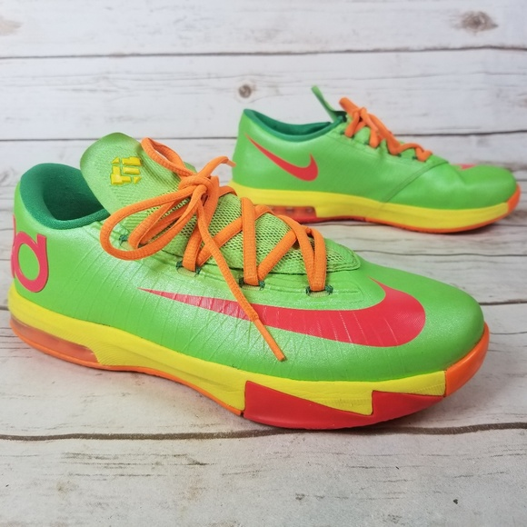 1110ad475290 Nike KD 6 VI Lime Green Orange Shoe Boys Size 5.5Y.  M 5b137ef6a31c331cf3d02ab7